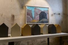 Ist es das wovon Du geträumt hast, Installation  kunstlicht 2018, Keramik und Arcyl auf Papier/Pappe, 2018