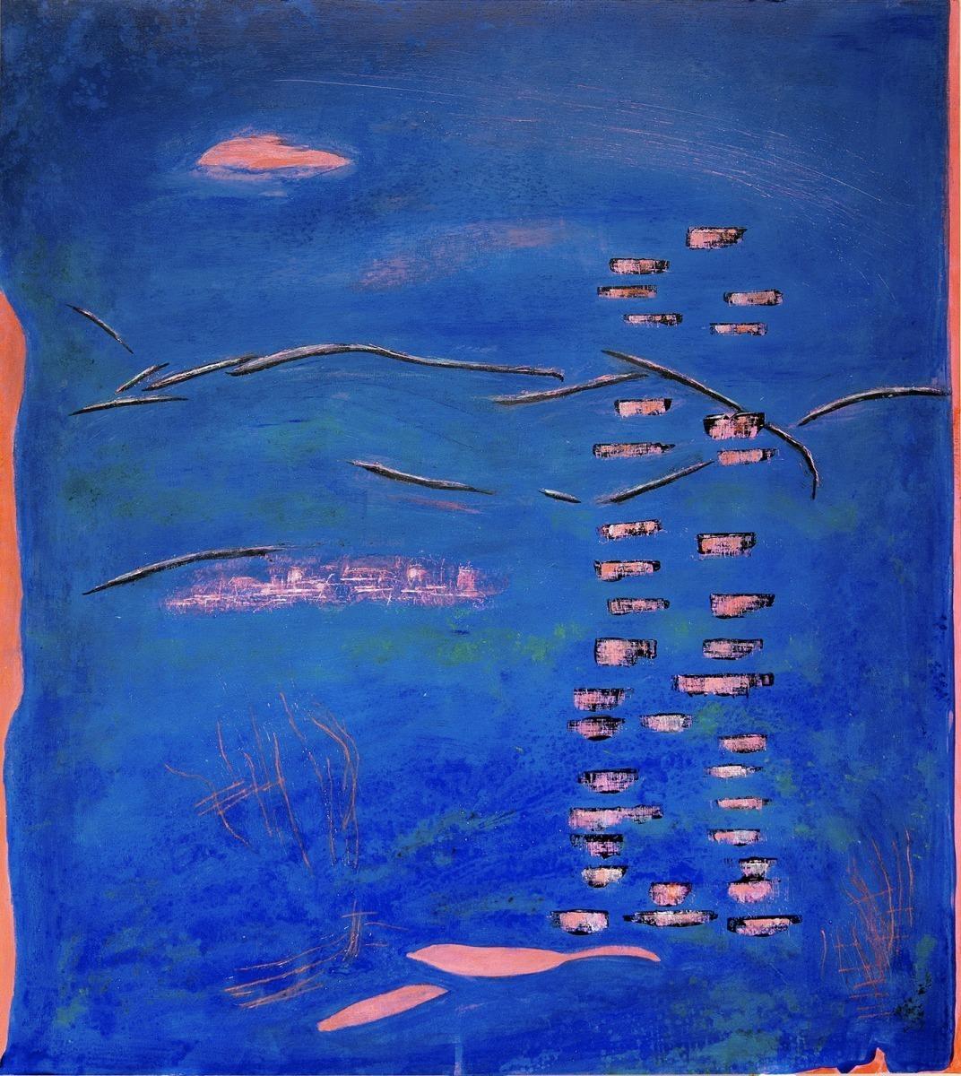 Das leise Zittern der Blätter in der Nacht, Serie Ist es das wovon Du geträumt hast// Acryl, Tusche auf Holz, 82 x 92 cm, 2020