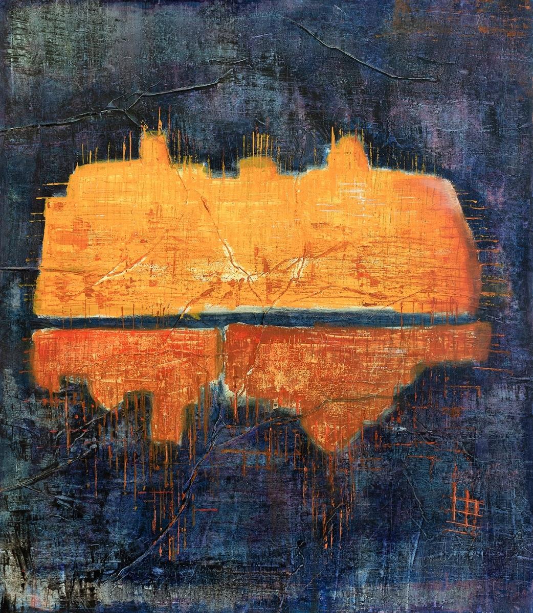 Fort de joux #1 (Serie Kleist) // 85 x 75, Acryl, Ölkreide auf Papier, 2019