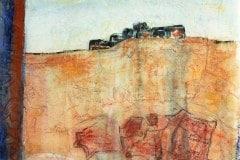 Fort de joux #2  (Serie Kleist) // 45x40, Acryl, Ölkreide auf Seidenpapier, 2019