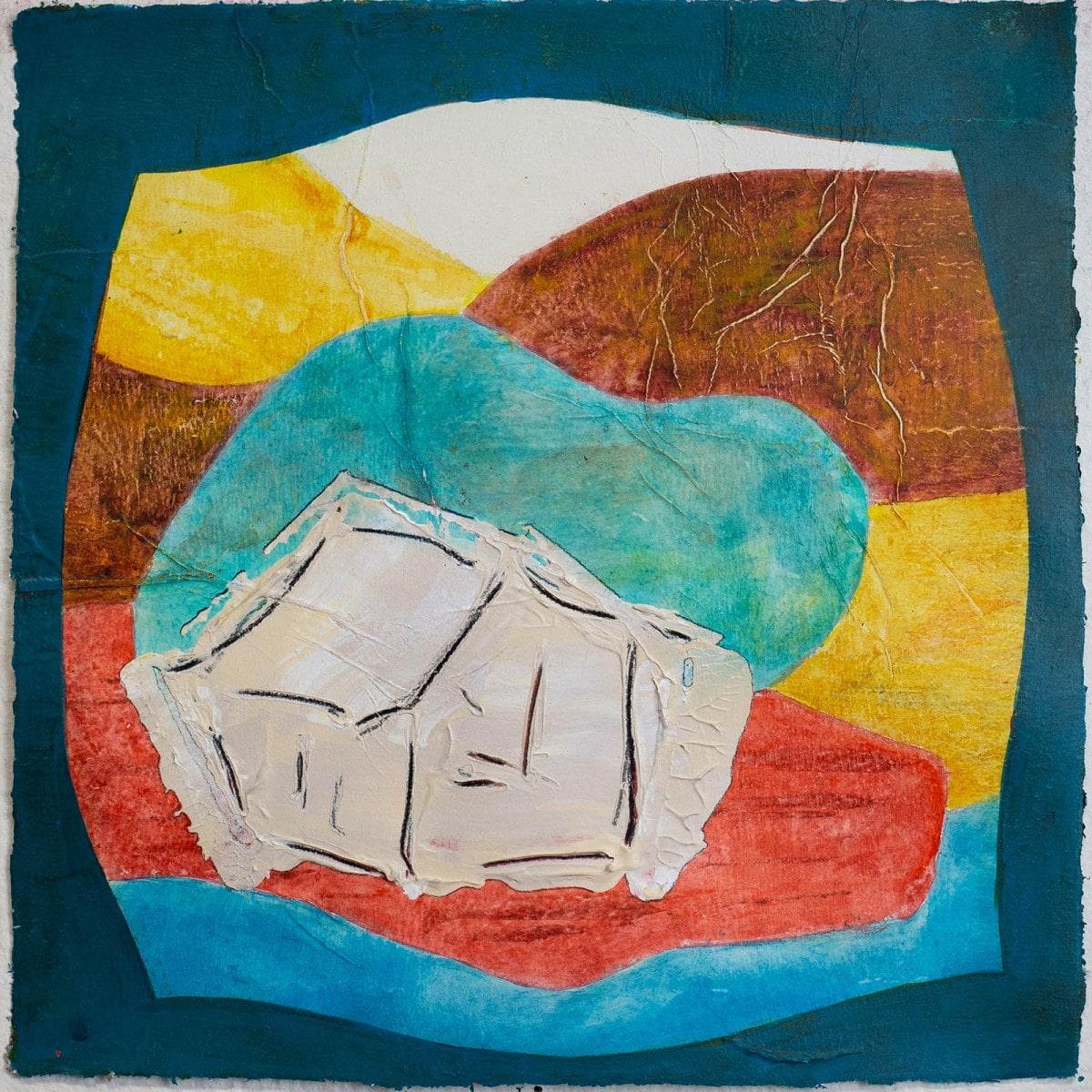 Mountain Idyll No. 01 with Water Bubble // Acry, Ölkreide auf Papier, 23 x 23 cm, 2021