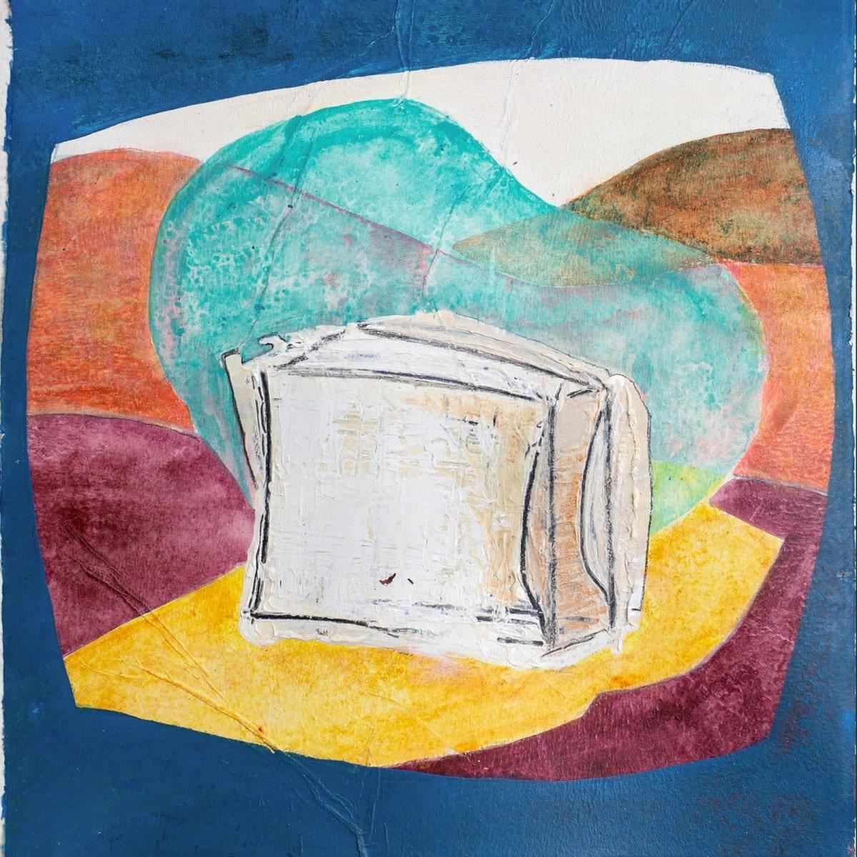 """German """"Platte"""" with Water Bubble // Acry, Ölkreide auf Papier, 23 x 23 cm, 2021-Waterbubble-web"""