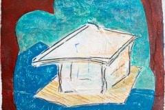 Flyin Hut // Acry, Ölkreide auf Papier, 23 x 23 cm, 2021