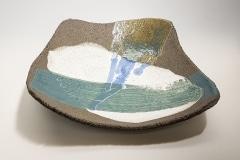 Flache Schale, Steinzeug, gefärbtes Porzellan, Glasur