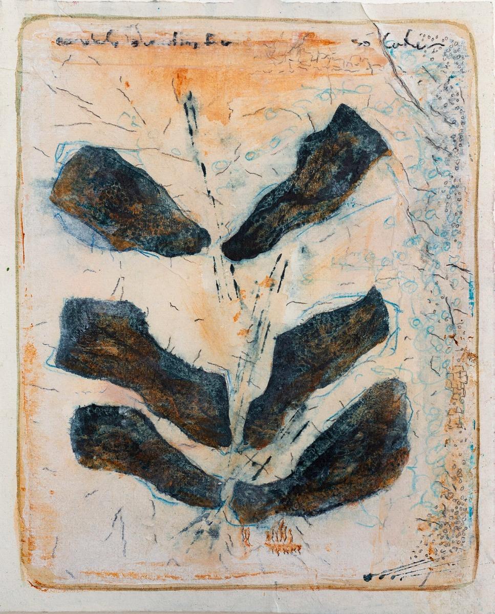 Waiting for solution (Serie James Cook) // Acryl, Ölkreide auf Papier, 28 x 22 cm, 2020