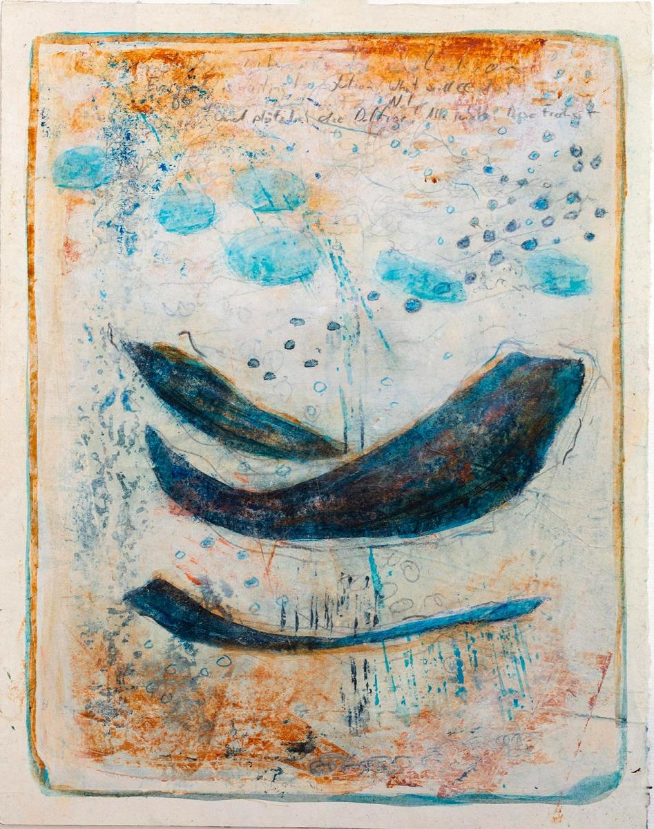 ...plötzlich die Delfine (Serie James Cook) // Acryl, Ölkreide auf Papier, 28 x 22 cm, 2020