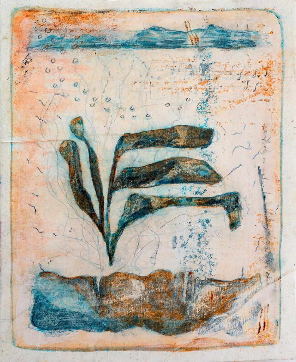 ... losgehen ... (Serie James Cook) // Acryl, Ölkreide auf Papier, 28 x 22 cm, 2020