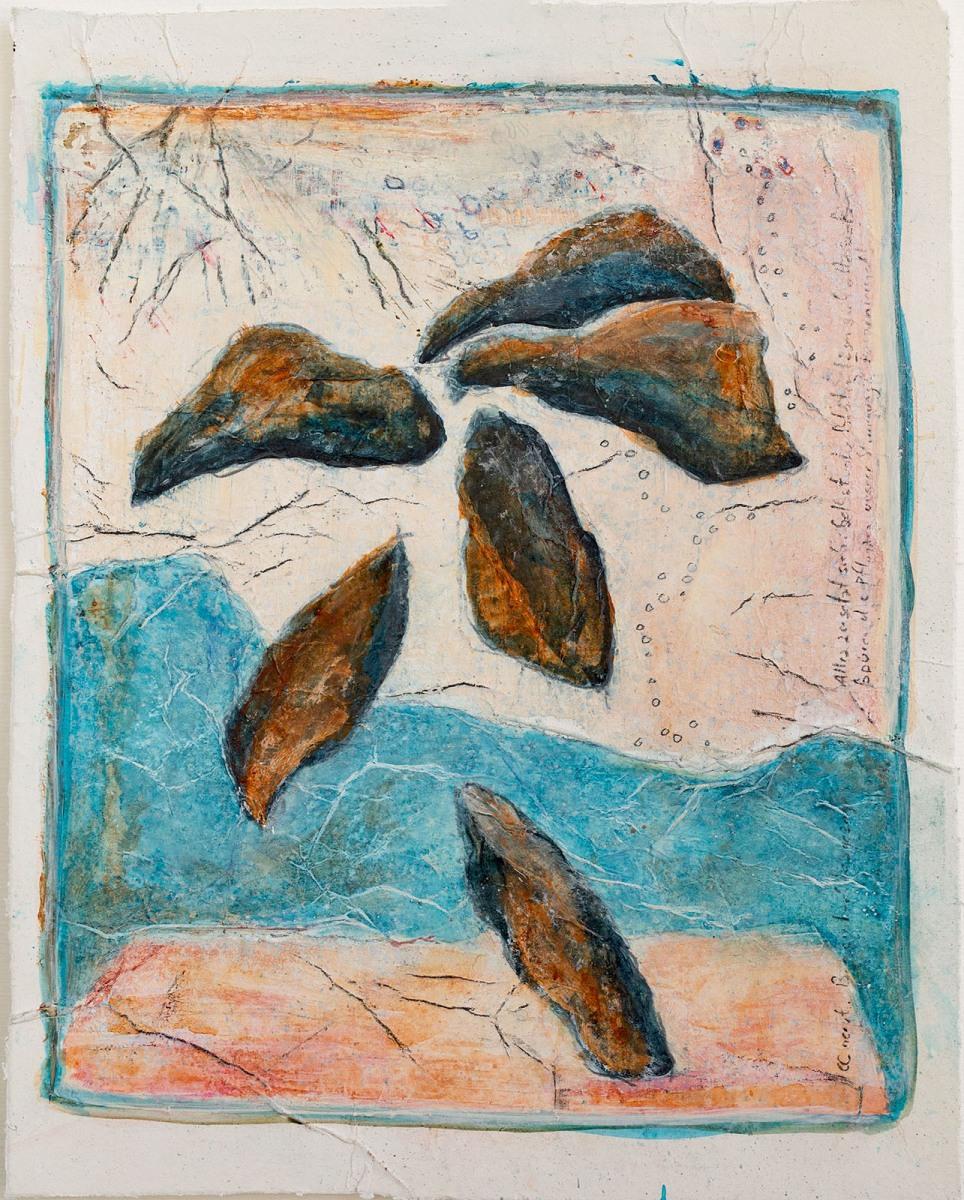 Bin einfach losgezogen (Serie James Cook) // Acryl, Ölkreide auf Papier, 28 x 22 cm, 2020