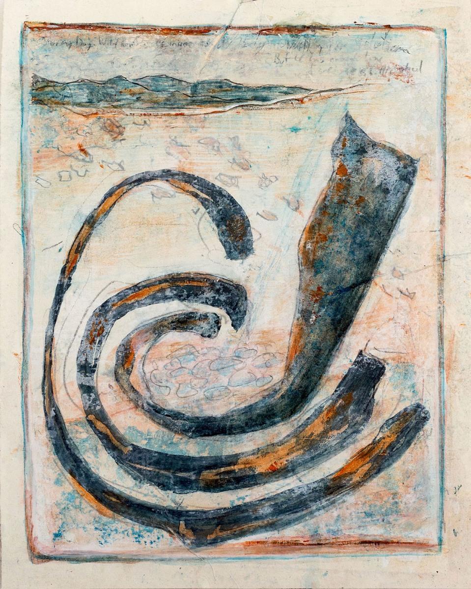 Stormy Day, Wild Snakes (Serie James Cook) // Acryl, Ölkreide auf Papier, 28 x 22 cm, 2020