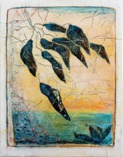 Abends wird alles ruhig (Serie James Cook) // Acryl, Ölkreide auf Papier, 28 x 22 cm, 2020