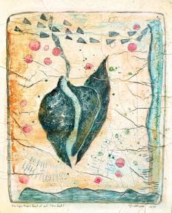 Unruhigen Herzens brach ich auf (Serie James Cook) // Acryl, Ölkreide auf Papier, 28 x 22 cm, 2020