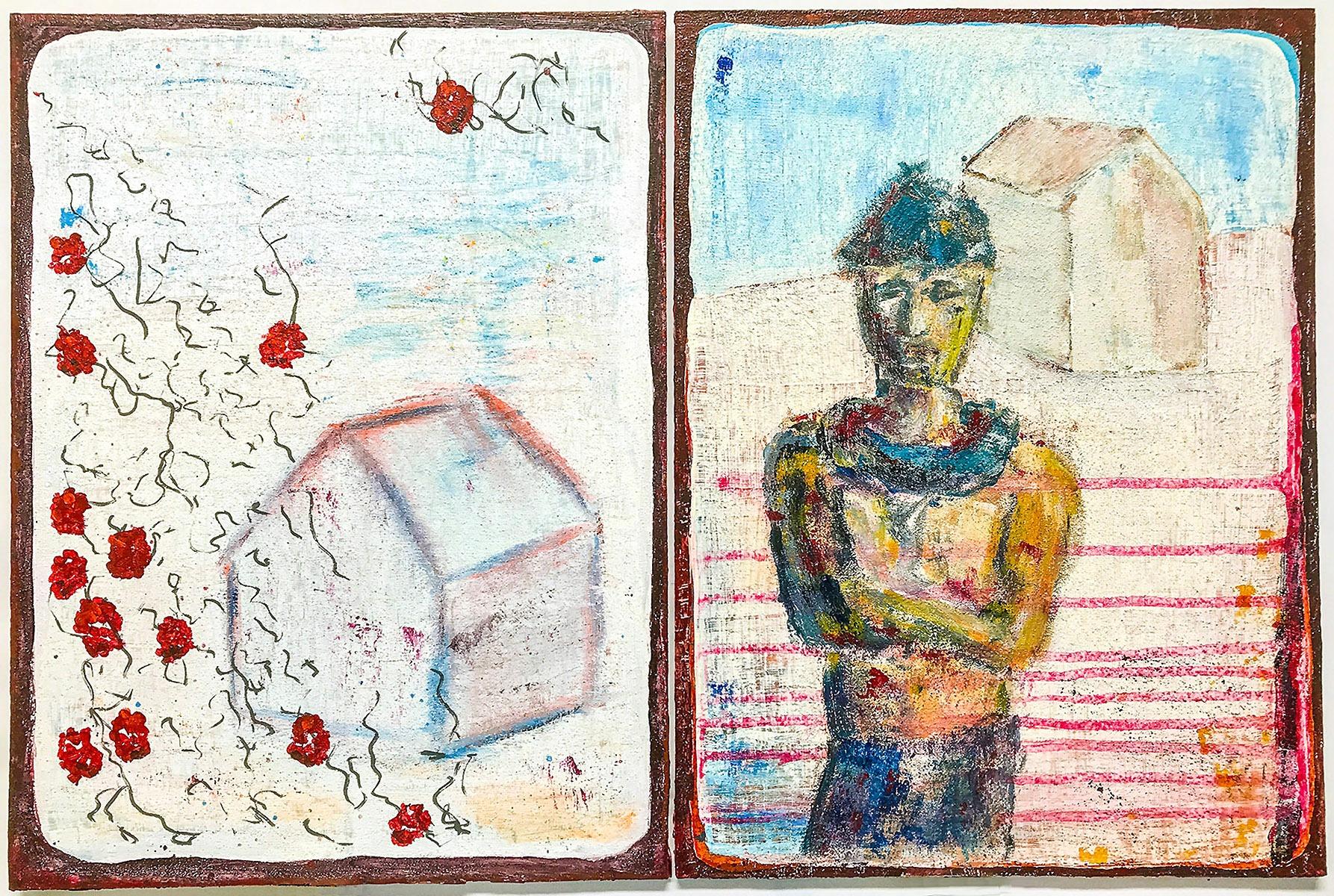 Der Aufruf (Serie Kafka/ Vor dem Gesetz) // 40 x 60, Acryl, Ölkreide auf Pappe, 2018