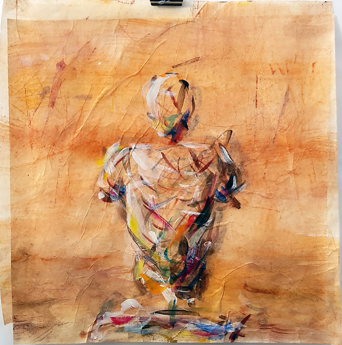 Wächter #01 (Serie Kafka/ Vor dem Gesetz) // 30 x25, Acryl auf Seidenpapier, 2018