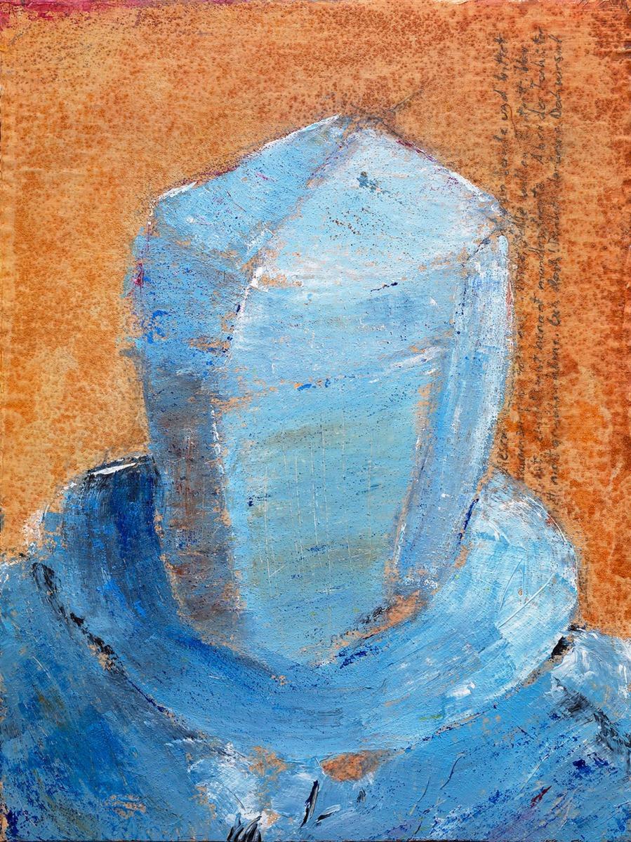 Torhüter #1 (Serie Kafka/ Vor dem Gesetz) // 40 x 30, Acryl, Ölkreide auf Pappe, 2018