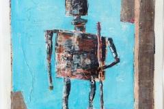 Türhüter #1 (Serie Kafka/ Vor dem Gesetz) // 28 x 22, Acryl, Ölkreide auf Papier, 2019