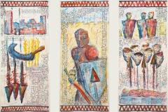 Vor dem Gesetz  (Serie Kafka) // 160 x 124 Tryptichon , Acryl, Ölkreide auf Papier, 2019