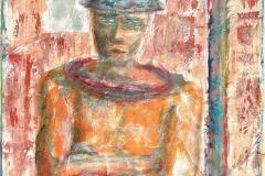 Vor dem Gesetz - Portrait  #2 // 90 x 65, Acryl, Ölkreide auf Papier, 2018
