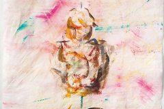 Wächter #05 (Serie Kafka/ Vor dem Gesetz) // 25 x25, Acryl auf Seidenpapier, 2018