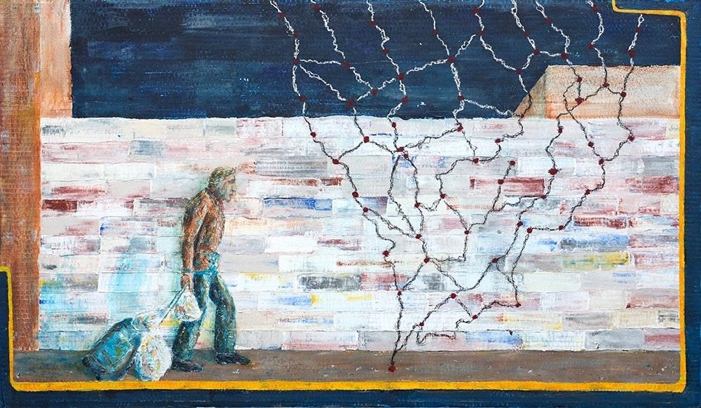 OT,  70 x 100, Acryl + Pastell auf Pappe, 2017
