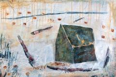 Haus und Hof  //  95 x 65, Acryl, Ölkreide auf Papier, 2019