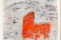 Serie Woher Wohin Blatt 20  //  28 x 23, Acryl, Ölkreide auf Papier, 2019