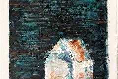 Serie Woher Wohin Blatt 22  //  28 x 23, Acryl, Ölkreide auf Papier, 2019