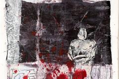 Serie Woher Wohin Blatt 25  //  28 x 23, Acryl, Ölkreide auf Papier, 2019